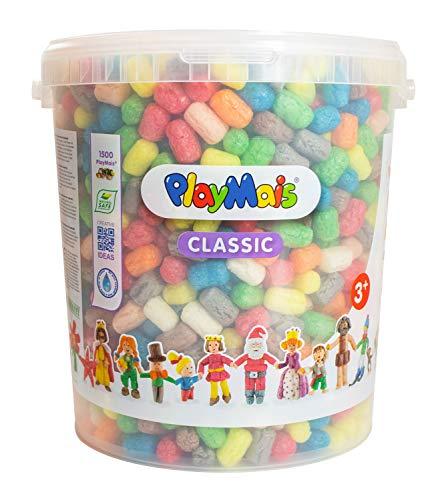 PlayMais BASIC 1500 Bastelset für Kinder ab 3 Jahren   Basteleimer mit über 1500 Stück zum Basteln   Natürliches Spielzeug   Fördert Kreativität & Motorik   Geschenk für Mädchen & Jungen