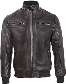 Aviatrix Men's Real Leather Fashion Bomber Jacket with Shoulder Detailing (OS3R)