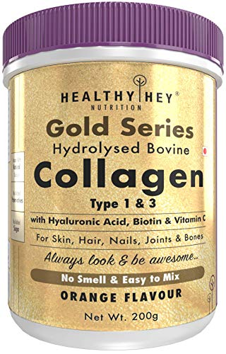 HealthyHey Nutrition Collagen Gold Series with Hyaluronic Acid, Biotin & Vitamin C - No Smell and Sugar-Easy to Mix-for Skin, Hair & Nails, 200 gm (Orange)
