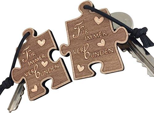 endlosschenken Schlüsselanhänger für Paare - Für Immer Verbunden - aus Holz Liebespaar
