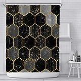 Xiongfeng Wasserdicht Marmor Muster Schwarz Duschvorhang Textil 180x180 inkl. 12 Ringe Blickdicht Badewannenvorhang aus Polyester Golden Geometrisch Glitzer Vorhang mit Verstärkte Löcher