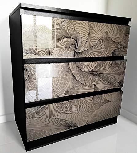 MRC Schubladenkommode Schubladenschrank für Schlafzimmer Wohnzimmer Badezimmer Kommode mit 3 Schubladen Glasfront Glamouröses Sideboard Verspiegeltes Schränkchen Anrichte 77x70x40 cm (Wenge/SHANTE)