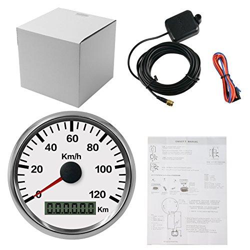 Autool compteur de vitesse en acier inoxydable étanche GPS, 85 mm, 0–120 Km/h pour automobile, moto, camion, camionnettes, bateau 12 V 24 V