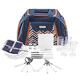 anndora Picknicktasche mit Kühlfach blau orange Zubehör 29 Teile 4