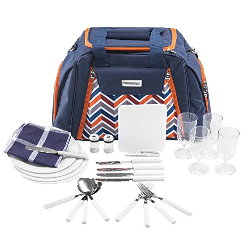anndora Picknicktasche mit Kühlfach blau orange Zubehör 29 Teile 4 Personen