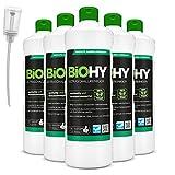 BiOHY Detergente a ultrasuoni (6 bottiglie da 1l) + Distributore | Pulizia intensiva e delicata di occhiali, prodotti dentali, oro, monete e gioielli (Ultraschallreiniger)