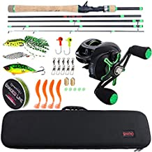 Sougayilang Baitcasting Travel Fishing Rod Reel Combos with Light Weight High Carbon Baitcasting Rod Portuguese Cork handle-5PC Protable Travel Fishing Pole-2.4M-Left Handed