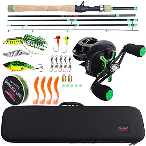 Sougayilang Baitcasting Travel Fishing Rod Reel Combos with Light Weight High Carbon Baitcasting Rod Portuguese Cork handle-5PC Protable Travel Fishing Pole-2.1M-Left Handed