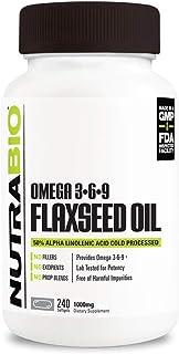 NutraBio Flaxseed Oil - 1000mg 240 Softgels