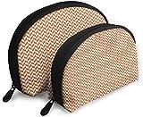 Ches Shell Bolsa portátil con cremallera 2 bolsos, apto para cosméticos de mujer, bolsos/bolsos, accesorios para mujeres, espiga naranja