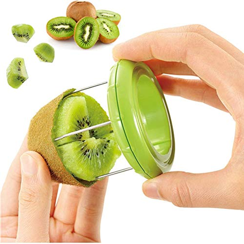 1pc Kiwi Cutter Peeler Slicer Knife Fruit Splitter Kitchen Tools Gadgets, Fast Peel & Digging Core Any Fruit Or Soft Vegetable With Ease, Portable Mini Kitchen Tools, Stainless Steel(Green)