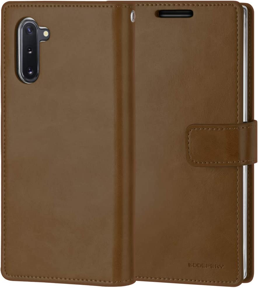 Goospery Mansoor Wallet for Samsung Galaxy Note 10 Case (2019) Double Sided Card Holder Flip Cover (Brown) NT10-MAN-BRN