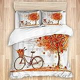 Funda nórdica de 3 Piezas, árbol de otoño, Bicicleta, Hojas de Arce en otoño, Juego de Cama de Calidad con 1 Funda y 2 Fundas de Almohada Estilo