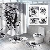 Badezimmer-Set,Duschvorhang,WC-Set,Fashion Star Wars-Duschvorhang-Set mit rutschfestem Teppich Toilettendeckel-Badematte & 12 Haken Wasserdichtes Mehltau-Badezimmer