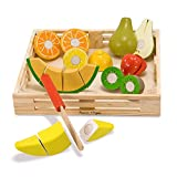 Melissa & Doug Cutting Fruit Set - The Original (Wooden Play Food Kids Toy, Wooden Crate, 17 Pieces, Great...