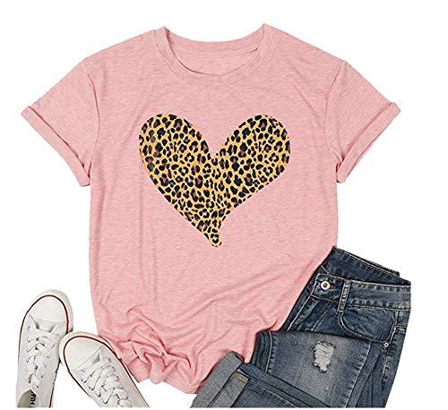 Vrouwen Cheetah Luipaard Hart Grafische Print T-Shirt Valentijnsdag Tees Top Liefde Symbool
