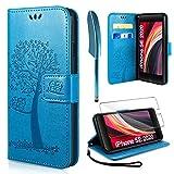 AROYI Handyhülle für iPhone SE 2020 Hülle + Schutzfolie, iPhone 8/7 Klapphülle Hülle PU Leder Flip Wallet Schutzhülle für iPhone SE 2020 Tasche (Blau)
