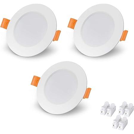 VTERLY LED Spot Encastrable, 3 Pièces 6W Encastré Lampe Plafonnier Plat Rond, 430LM, 3000K Blanc Chaud, Pas Dimmable, AC 220-240V, Spot de Plafond Angle 120°, pour Salle de Bain, Salon