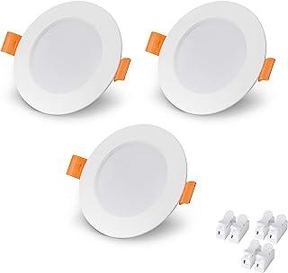 VTERLY LED Spot Encastrable, 3 Pièces 6W Encastré Lampe Plafonnier Plat Rond, 430LM, 3000K Blanc Chaud, Pas Dimmable, AC 2...