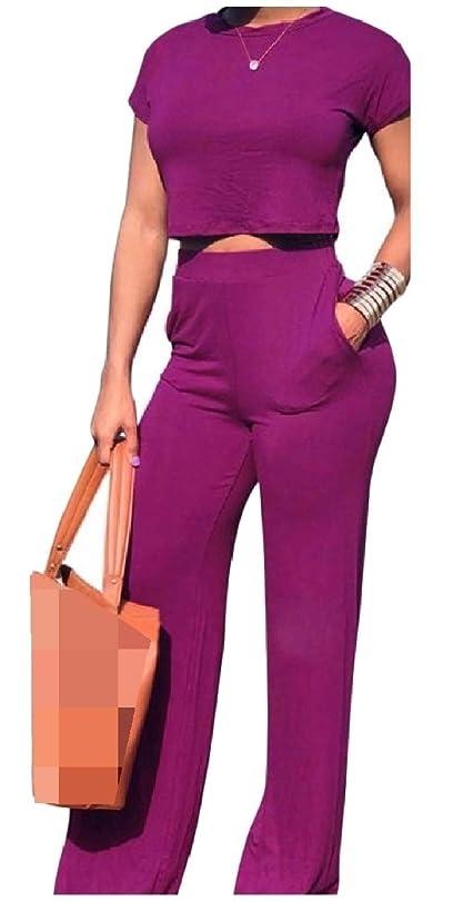 装備する霧深い貸すウェストトラックスーツの上に女性セクシーなポケットクルーネック半袖セット