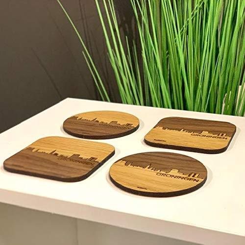 Skyline Onderzetters Groningen Luxe - Combinatie eiken en noten hout - 4 stuk(s) - 9x9 cm Vierkant met afgeronde hoeken - Cadeau - Woon decoratie - Woonkamer
