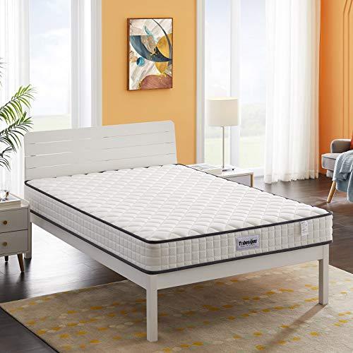 Tribesigns Colchón de muelles de 8 zonas, 135 x 190 cm, colchón de invitados 20 cm, nivel de dureza H2, blanco + negro