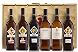 Pack 6 Botellas 75 Cl. en Caja de Madera - Manzanilla en Rama + Cream Alameda + Pedro Ximenez Triana + Pastrana - Napoleón + Faraón + 100 gr. Jamón Paleta Bellota 100% Ibérica Gran reserva