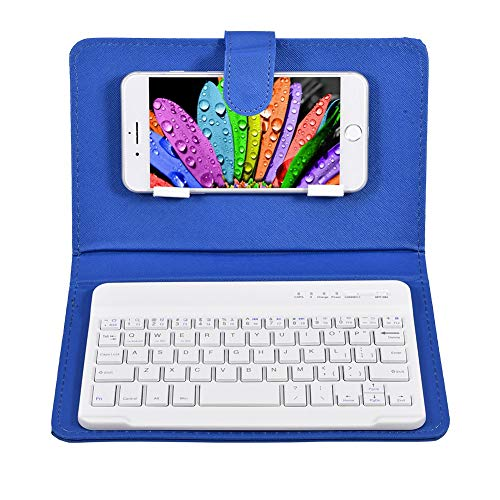 Topiky Cover per Tastiera Bluetooth, Custodia in Pelle Ultra-Sottile per Tastiera Bluetooth 7in in PU con Staffa per Telefono per Android e per iOS(Blu)(Non includere la Tastiera)