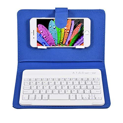 Funda con Teclado Bluetooth, Funda Protectora Ultrafina con Teclado de Cuero PU de 7 Pulgadas y Soporte Bluetooth para Android y para iOS(Azul)