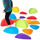 Stepping Stones for Kids, Jumbo 15 Pack - Colorful River Stone Exercise Blocks for Balance and Coordination - Indoor Outdoor Childrens Play Set