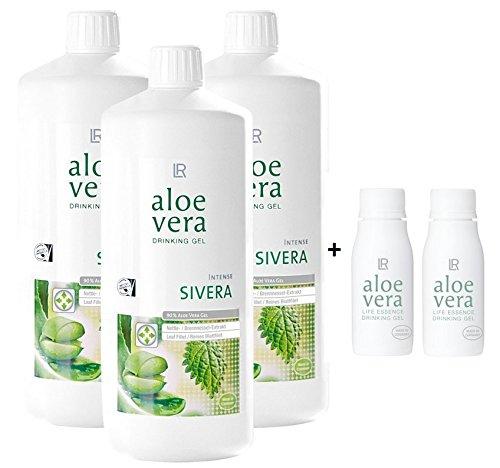 LR Aloe Vera Drinking Gel Sivera 3 x 1000 ml plus 2 x Aloe Vera Rotationsflasche (unbefüllt) für unterwegs, 90 ml