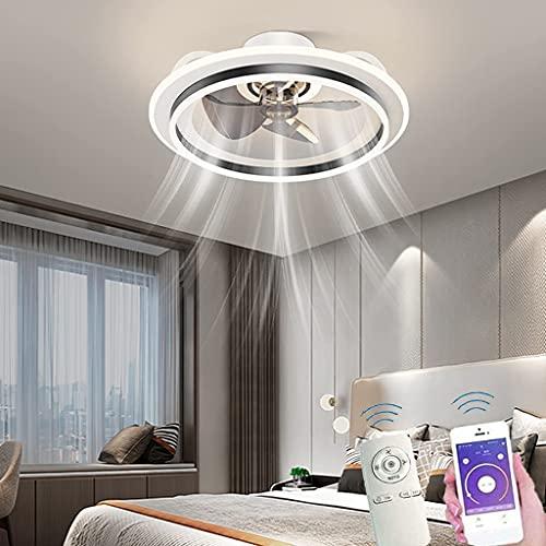 Lámpara De Techo LED Con Ventilador De Techo Ventilador De Techo De Anillo Redondo Con Temporizador De Iluminación Aplicación De Control Remoto Regulable Extremadamente Silenciosa Lámpara Moderna