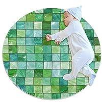 エリアラグ軽量 緑色のタイル フロアマットソフトカーペット直径31.5インチホームリビングダイニングルームベッドルーム