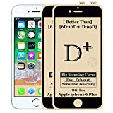 Kreatick D-Plus Tempered Glass Screen Protector Compatible with Apple iPhone 6 Plus (Black)