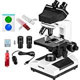 VEVOR Binocular Compound Microscope 40X-2500X Magnification LED Digital Compound Microscope, Siedentopf Head, Research-Grade Microscope w/Wide-Field 10X and 25X Eyepieces 5MP Camera, Mechanical Stage