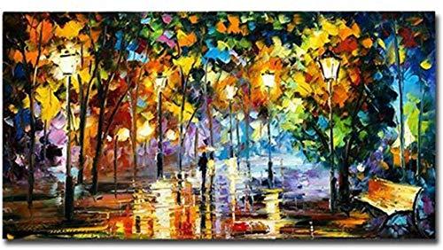 Ölgemälde auf Leinwand handgemalte moderne abstrakte Landschaftsmalerei unter regnerischem Regenschirm Fußgängerprofi großes Hauptwandkunstdekorationseingang Wohnzimmer Schlafzimmer