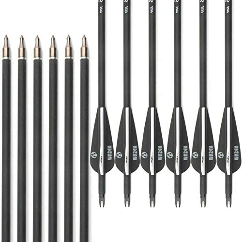 Musen 28 Inch Carbon Archery Arrows, Spine 500 with Removable Tips, Hunting and Target Practice Arrows for Compound Bow and Recurve Bow (12 pcs)