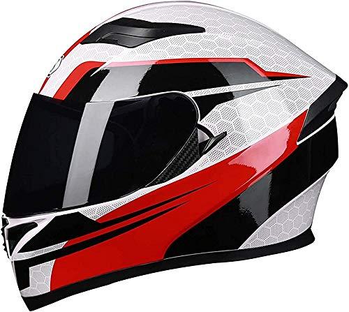 Cascos de motocicleta de cara completa abatibles cascos de moto modulares DOT/ECE aprobados doble visera de sol Offroad Cascos de motocross para mujeres hombres adultos scooter-3_XL = (61 ~ 62 cm)