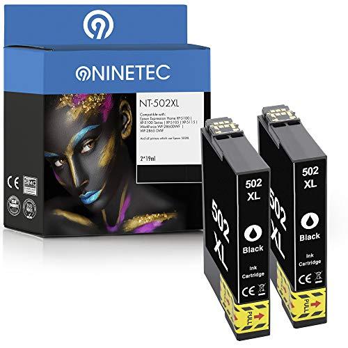 NINETEC 2 cartuchos de tinta compatibles con Epson 502XL 502 XL | para Expression Home XP-5100 XP-5105 XP-5115 Workforce WF-2860DWF WF-2865DWF | negro, 19 ml de capacidad XL