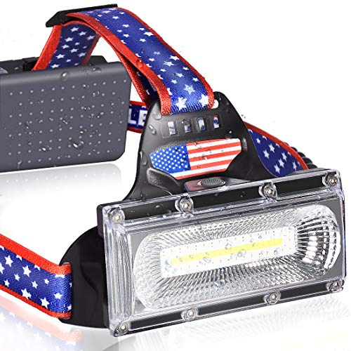 LETOUR Headlamp, Newest Rechargeable LED Headlamp,COB High Lumens Adjustable Head Lamp Flashlight Headlight USB Rechargeable, IPX45 HeadLamps for Camping, Outdoors, Red Light Include