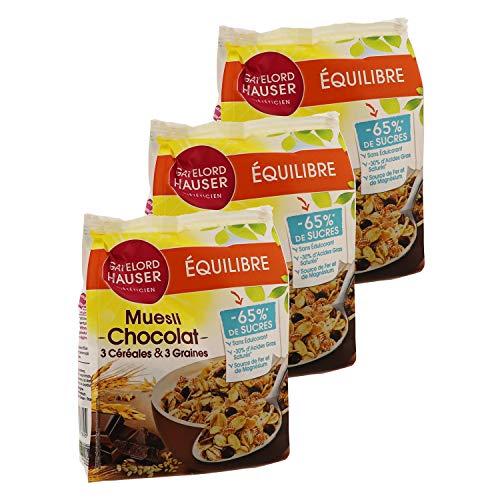Gayelord Hauser Muesli - Chocolat et Graines - Réduit en sucres - 3 paquets 375 g