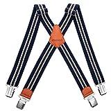 HBselect Bretelle Uomo Elastiche Bretelle Uomo con 4 Clip Accessori da Uomo Eleganti Bretelle Righe Vintage Adatto per Uomo e Donna Forma di X (Blu (Righe Vintage))