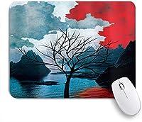ZOMOY マウスパッド 個性的 おしゃれ 柔軟 かわいい ゴム製裏面 ゲーミングマウスパッド PC ノートパソコン オフィス用 デスクマット 滑り止め 耐久性が良い おもしろいパターン (ぼやけた背景の牧歌的な自然の写真と孤独な木海山)