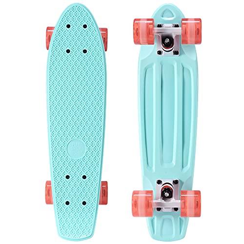 Playshion Complete 22 Inch Mini Cruiser Skateboard for Beginner with Sturdy Deck ( Green Clear Orange Wheel )