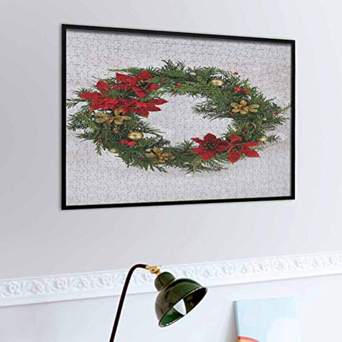 igoga sports Custom Puzzles for Adults 500 Piece Christmas Toddler Puzzle Floral Wreath Cultural Design Poinsettia Blossoms Holly Pine Cone Branches Fun Indoor Activity Educational Green Red Gold