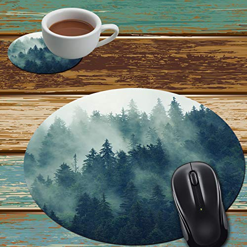 Mouse Pad and Coaster Set, Forest Tree Mouse Pad Round Non-Slip Rubber Mousepad Office Accessories Desk Decor Mouse Mat for Desktops Computer Laptops
