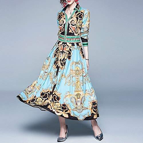 Robe de fête Robe imprimé Mode V-Cou à Manches Longues Taille Big Swing Robe plissée (Couleur: Bleu Taille bébé: M) (Color : Baby Blue, Size : One Size)