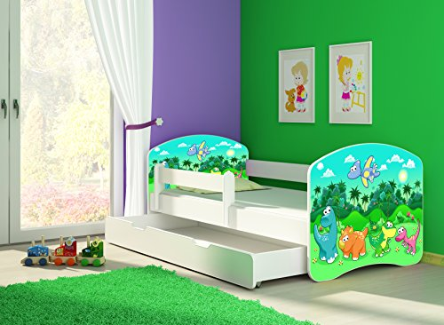 Clamaro 'Fantasia Weiß' 160 x 80 Kinderbett Set inkl. Matratze, Lattenrost und mit Bettkasten Schublade, mit verstellbarem Rausfallschutz und Kantenschutzleisten, Design: 30 Dinosaurier
