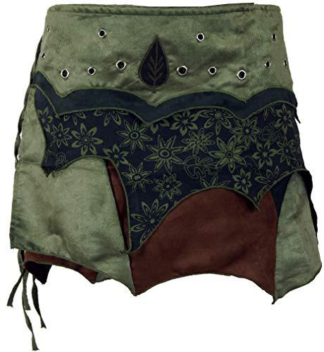 Guru-Shop Elfen Wickelrock, Goa Minirock, Cacheur, Damen, Olive, Baumwolle, Size:L/XL (42), Röcke/Kurz Alternative Bekleidung