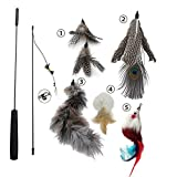MAIYADUO Cat Teasers Cat Feather Wand Cat Toy Interactive Toy Feather Wand with Bell 5x Natural Feather Refills